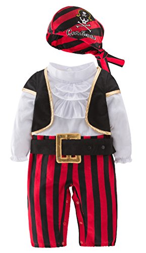 stylesilove Infant Baby Boy Cap'n Stinker Pirate Halloween Costume 4 pcs Set (80/12-18 Months)