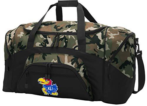 Broad Bay Large Kansas Jayhawks Duffel Bag CAMO University of Kansas Suitcase Duffle Luggage Gift Idea for Men Man Him!