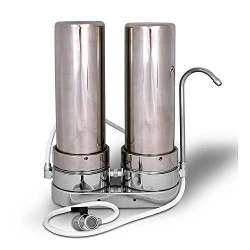 Dual Countertop Water Filter System, Stainless Steel with Carbon Block and Sediment by Ronaqua