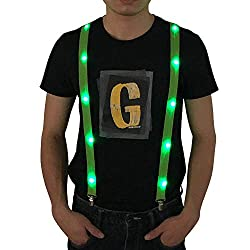 LED Light up Suspenders In Green Color