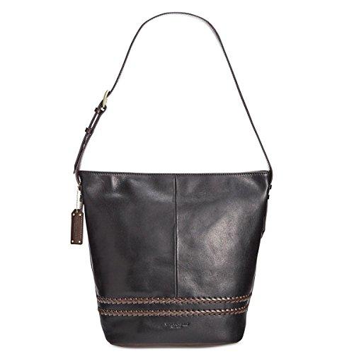 Tignanello Classic Boho Vintage Leather Bucket Bag, Black/Dark Brown (Tignanello Brown Leather)