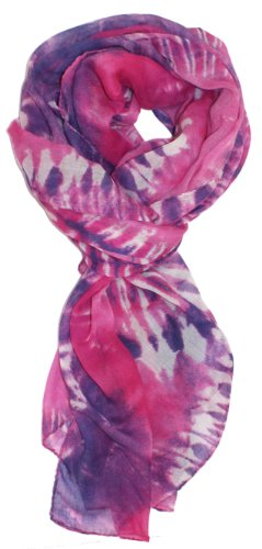 LibbySue-Pretty Tie-Dye, Peace Sign Oblong Print Scarf, Shawl in Multi-Colors Magenta