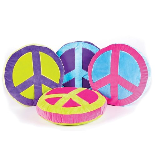 16'' x 16'' PLUSH PEACE SIGN PILLOW, Case of 12