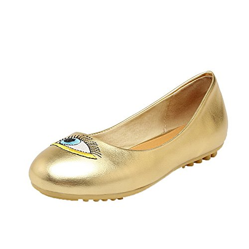 AllhqFashion Womens Pull-On Round-Toe Low-Heels PU Cartoon Pattern Pumps-Shoes Gold 7CP13NOkuR