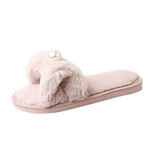09096a70056b low-cost Fashion Pearl Winter Slippers Bowtie Indoor Flats Shoes Soft Plush  Floor Slippers Size