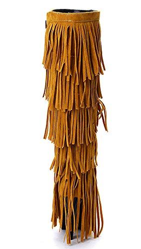 rodilla Amarillo Caliente de franja Odema de botas tacones borlas Mujer altos la stilettos alta InOwxRw
