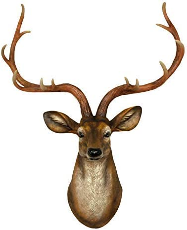 YJ Home Deer Head Wall Decor – Faux Stag Mounted Animal Head Wall Decor Fake Deer Head Sculpture Large, Brown