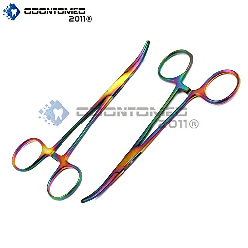 OdontoMed2011® Titanium Galaxy Rainbow 2 Pc 5.5'' Ultimate Hemostat Curved Ideal For Nurses, Emt, Medic Students, Firefighter, Fisherman, Hobbiest And Taxidermy Multi Colour Forceps ODM by ODONTOMED