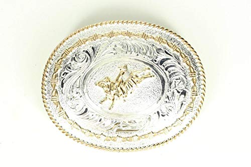 Crumine Bull Rider Trophy Buckle - Silver/gold Plated - 3 1/4 X 4 1/4