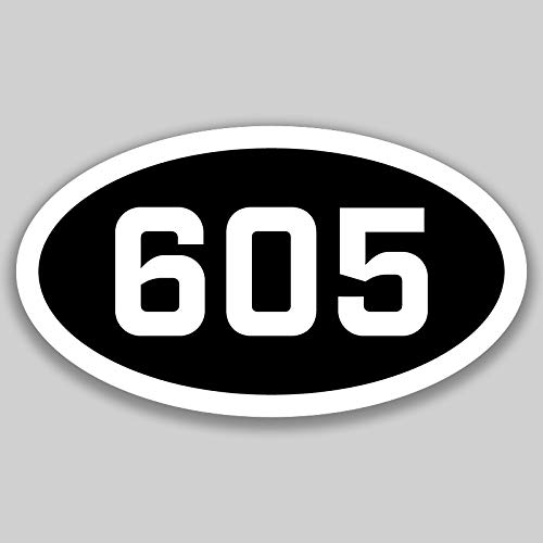 605 Area Code Sticker South Dakota Sioux Falls Aberdeen Pierre City Pride Love | 5-Inches by 3-Inches | Premium Quality Vinyl UV Resistant Laminate PD2627 ()
