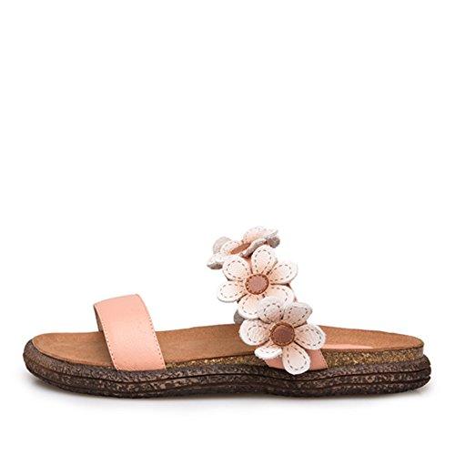 Moda Verano Usar Zapatillas De Cuero Genuino/Estudiantes De Fondo Plano Flores Frescas Zapatillas B