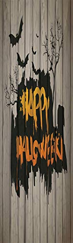 Halloween Decorations 3D Decorative Film Privacy Window Film No Glue,Frosted Film Decorative,Happy Graffiti Style Lettering on Rustic Wooden Fence Scary Evil Artwork,for Home&Office,23.6x59Inch -