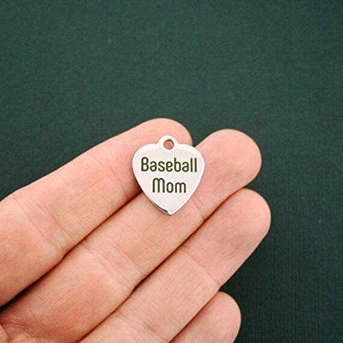 Baseball Mom Stainless Steel Charm - Exclusive Line - Quantity Options - BFS1390
