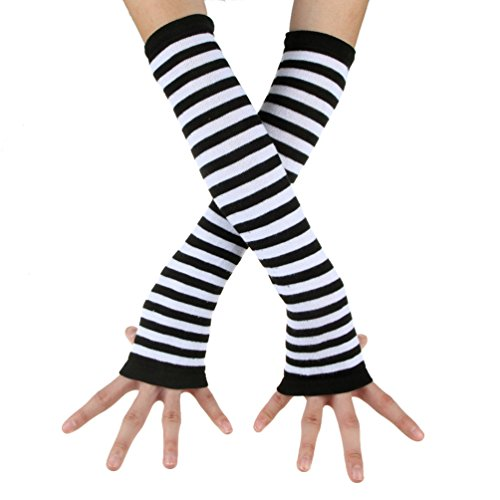 ECOSCO Punk Gothic Horizontal stripes Hand Arm Warmer Finger Gloves -