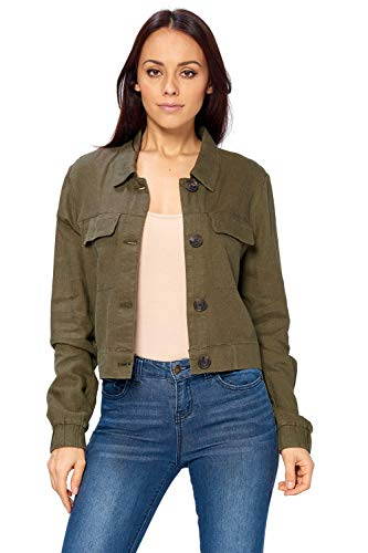 Ci Sono Women's Button Down Summer Spring Light Weight 2 Front Pocket Linen Jacket (L, Army)