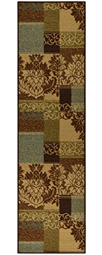 Ottomanson Ottohome Collection Contemporary Damask Design Non-Skid Rubber Backing Hallway Runner Rug, 2'7