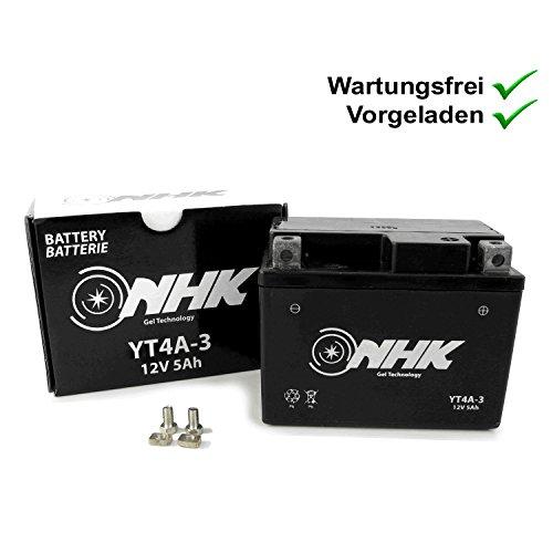 Onderhoudsvrije gel batterij 5Ah compatibel met Vespa Primavera 50 2T 13- ZAPC532, LX 50 2T ZAPC381, ET2 50 00- ZAPC381…