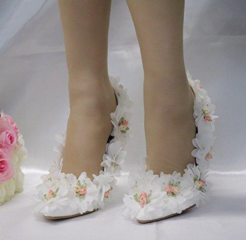 Hochzeit MSFS Blume Applikationen Weiß Größe Bis Braut Stiletto 35 Absatz 40 Damenschuhe 51wxAq16F