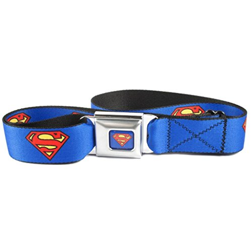 Buckle Down Unisex Seatbelt Buckle Superman Belt, Blue - Buckle Down Belt Buckles