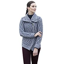 Ladies Soft Wool Plaited Trellis Irish Cardigan