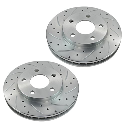 Performance Drilled Slotted Front Zinc Coated Brake Rotor Pair