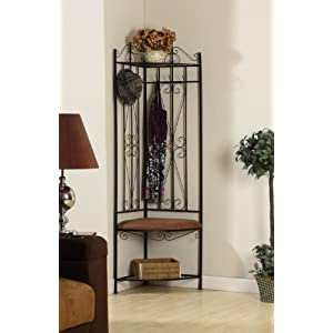 King's Brand Black Metal Corner Entryway Hallway Rack with Bench & 6 Hooks