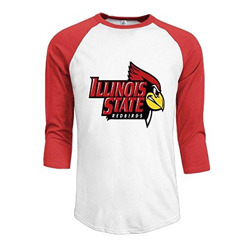 (R Hot Men's Illinois State Redbirds Jersey Baseball T Shirt Neck Cotton Blend 3/4 Red)
