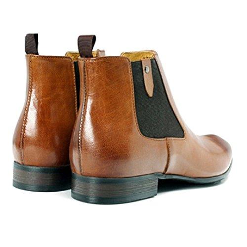 Quotidiano Trend Pelle Alta Uomo Casual Cowboy Comodo Moda Scarpe Assistenza da Lavoro Stivali da Brown in ax4Aa8