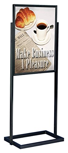Displays2go 22 x 28 Inches Top-Loading Design Floor Standing Sign Holder with Non-Glare Lenses for Double-Sided Presentations, Black and Aluminum (MFPH1BLK) by Displays2go