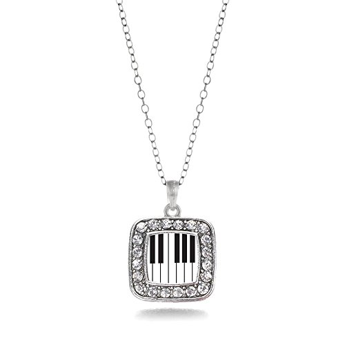 Inspired Silver Piano Keys Classic Square Charm Necklace With Cystal Rhinestones