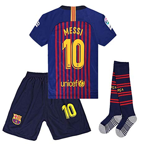 seryhr-tx Messi 10 Barcelona Home Kids Socce Jersey 2018/2019 Season.Matching Shorts,Socks.Color Red/Blue Size ()