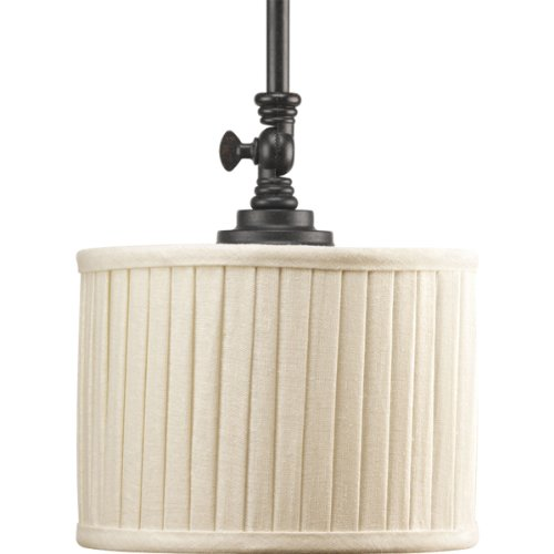 (Progress Lighting P5256-84 1-Light Mini-Pendant with Drum Shades in Cream Linen Fabric and Soft Side Pleats, Espresso)