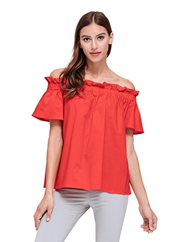 - Pleione Short Sleeve Off Shoulder Top Red XS