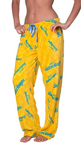 Pants Boop Betty Lounge - Licensed Women's Warm and Cozy Plush Pajama/Lounge Pants (Large, Butterfinger)