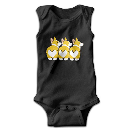 Funny Corgi Heart Butts Unisex Baby 100% Cotton Sleeveless Lap Shoulder Bodysuits 24 Months