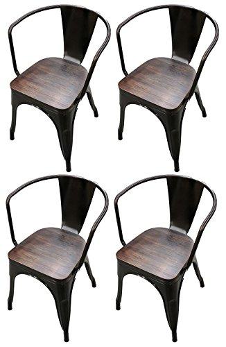 Titan Modern Metal Dining Room Stacking Chair w/ Wood Seat - Set of 4 (Bronze)