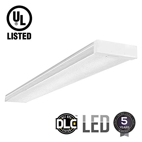 Fluorescent Light Wrap Around (LEONLITE 42W 4ft LED Wraparound Light LED Garage Shop Lights, DLC & UL-Listed, Surface Mount, 4000K Cool White, Integrated Low Profile Linear Flush Mount Ceiling Lighting, 5-Year Warranty)