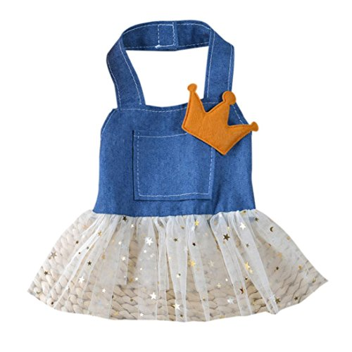 Woaills HOT!!Dog Princess Apparel Clothes,Pet Bow Tutu Dress Skirt Costume (S, Blue)