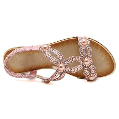 Pink Spiaggia Donna Estate Boemo da Stile Sandali TAOFFEN UOq8RO