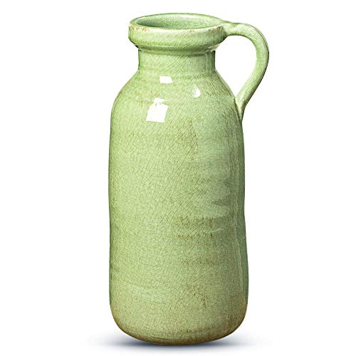 - WHW Whole House Worlds Beach Chic Pastel Glazed Pitcher Vase, Artisan Crafted, Distressed Pale Ocean Green Celadon Crackled, Terracotta Undertones, Stoneware, 5 Diameter, Over 1 Ft Tall