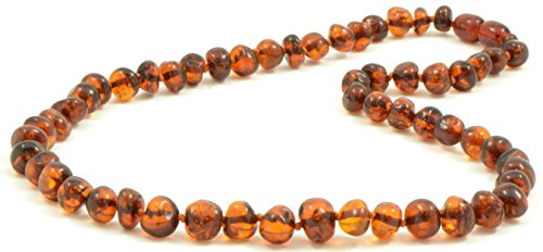 Baltic Amber Necklace for Adults - 17.7 Inches - Cognac Color - Baltic Amber Land - Hand-made From Polished / Certified Baltic Amber Beads - Knotted - Screw Clasp (Cognac)