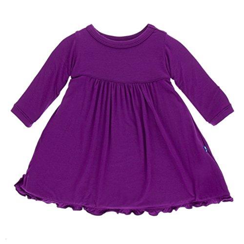 KicKee Pants Little Girls Solid Classic Long Sleeve Swing Dress, Starfish, 18-24 Months