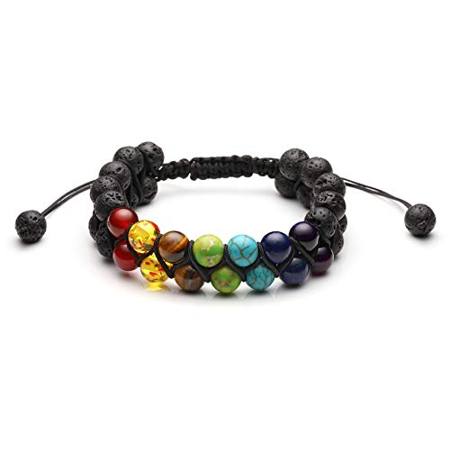 CrystalTears Mens Women 7 Chakra Lava Stone Diffuser Bracelet Double Layer Yoga Beads Natural Stone Essential Oil Braid Bracelets (7 Chakra-2)