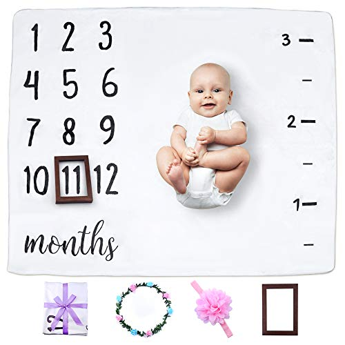 "Baby Milestone Blanket, Ideal Baby Shower Gift for Babies/Newborn/New Mom, 47"" x 40"", Create Moments to Memories Watch Me Grow Blanket by NOVEMBER SPRING"