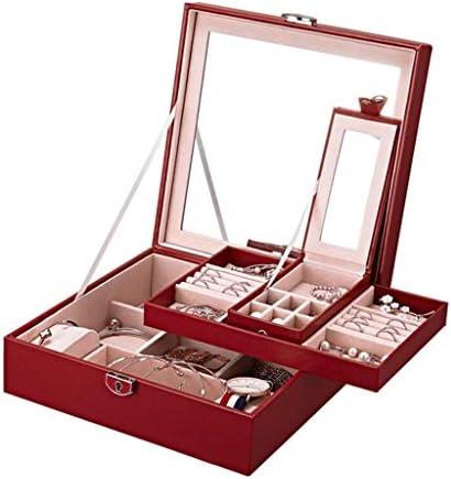 Leilims Mädchen Schmuck-Box Schmuck Organizer mit Schloss Portable Schmuckaufbewahrungstasche for Frauen-Mädchen-Kinder-Blau (Color : C)