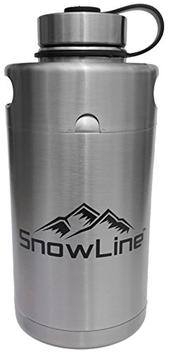 Stainless Keg Style Growler Double-Wall Vacuum Insulated with Wide Mouth Lid - 64 Oz. | 2 L. by SnowLine