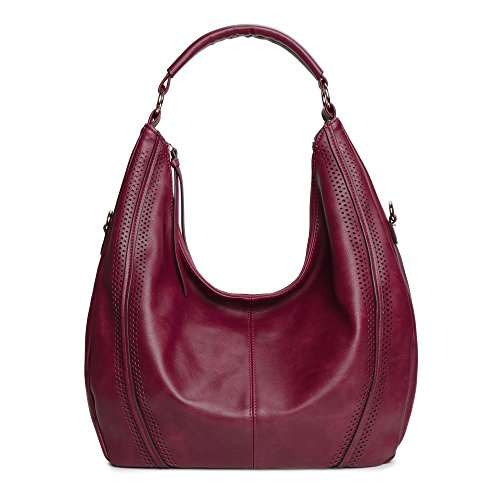 Women Hobo Bags Oversized Leather Handbags PU Crossbody Shoulder Totes Winter Stylish Purses (Wine)