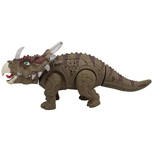 Dinosaur Toy Battery Powered Triceratops Realistic Sounds and Fun Lights Walks