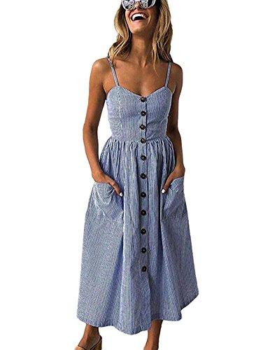 ECHOINE Women Navy Blue Stripes Midi Dress for Beach Summer