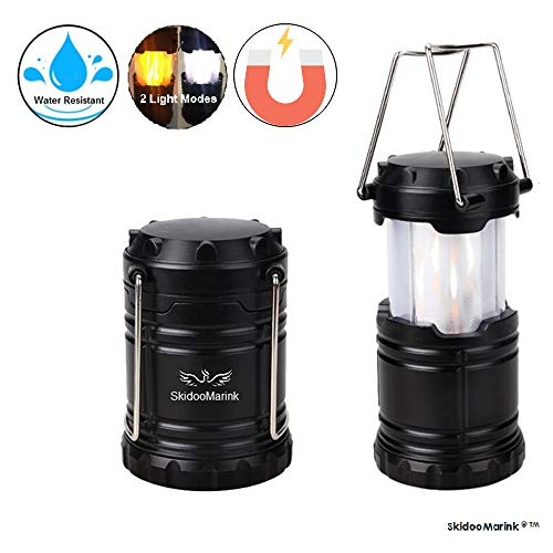 SKIDOOMARINK | Magnetic LED Camp Lantern With Hanging Hook | Collapsible, Water Resistant Tough Lantern | Ideal For Camping, Outdoors and Emergencies |100,000 Hours Life Time, AA Battery Powered| by SkidooMarink
